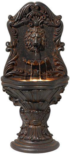 Imperial Lion Acanthus Wall Fountain | LampsPlus.com