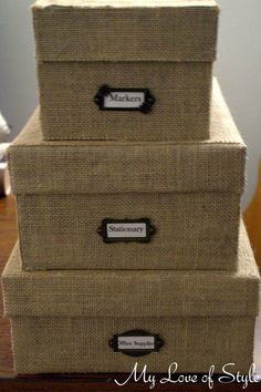 Turn Old Shoe Boxes into Custom Burlap Storage Boxes . Free tutorial with pictures on how to embellish a fabric covered box in under 45 minutes using burlap, shoe box, and scissors. Inspired by craftroom and organization. How To posted by Jessica {My L. Burlap Projects, Burlap Crafts, Fabric Crafts, Diy Projects, Diy Crafts, Fabric Covered Boxes, Diy Storage Boxes, Diy Sac, Home Office Storage