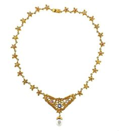 Loree Rodkin 18k Gold Multi Color Sapphire Pearl Necklace Featured in our upcoming auction on November 3!