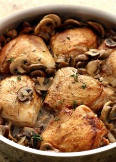 Madeira Chicken with Mushrooms. Altered a bit. used boneless skinless thighs, red onions, baby bellas, did not have/use thyme and did not crisp in the oven. Cooking Recipes, Healthy Recipes, Drink Recipes, Delicious Recipes, Dinner Recipes, My Favorite Food, Favorite Recipes, Good Food, Yummy Food