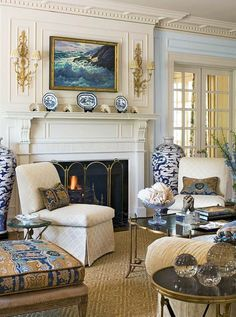 """love this fresh lookof blue/white with lots of beige to """"warm"""" it up. Not crazy about baby blue on wall by fireplace."""