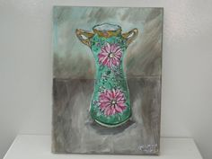 Acrylic on Canvas Antique Vase