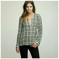 J. Crew Silk Plaid Blousanna Tunic Brand new with tags!! Gorgeous top!  Sheer material. Photos taken from J. Crew site 100% silk J. Crew Tops Blouses