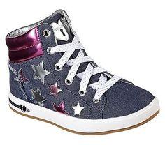 Skechers Kids' Shoutouts Fashion Stars Sneaker Pre/Grade School Shoes (Denim/Pink)