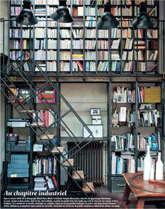 Amazing industrial loft full of books (by Vincent Leroux, Marie Claire Maison Mar 2012)
