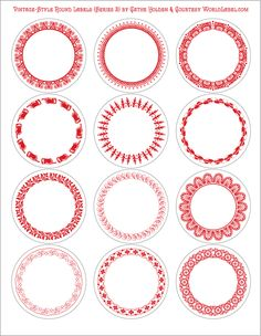 Red Round Vintage Bordered Labels