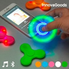 Spinner LED con Altoparlanti e Bluetooth InnovaGoods Bluetooth, Slot Machine, Up Arrow, Elephant Colour, Dishwasher Tablets, Face Stickers, Voice Recorder, Usb, Relaxation Techniques