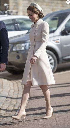 Catherine Kate Middleton, la duchesse de Cambridge - La famille royale britannique assiste à la messe de Pâques à la chapelle Saint-Georges de Windsor, le 16 avril 2017