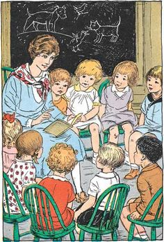 Teacher Reading to Students - Art Print (Books and Readers Art Prints) Old Illustrations, Children's Book Illustration, Lovers Art, Book Lovers, Reading Art, Children Reading, Vintage School, I Love Books, Vintage Cards