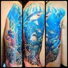 Pics of underwater tattoo – Tattoo 2020 Girly Tattoos, Life Tattoos, Body Art Tattoos, Tattoos For Guys, Cool Tattoos, Ocean Theme Tattoos, Ocean Sleeve Tattoos, Underwater Tattoo, Sunset Tattoos