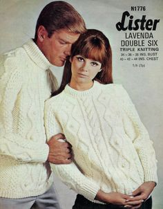 dc8ba2b237d Aran 10 ply Fishermans Knit Sweaters Jumpers 34 -44 ins - Lister 1776 PDF  of Vintage Unisex Patterns