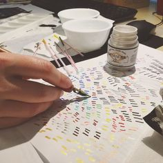 Testing out various inks for our newest blog post all about waterproof calligraphy inks!  . Check it out here: http://to.jetpens.com/2lQqOWn . #behindthescenes #instajetpens #calligraphyink #calligraphysupplies #calligraphy #calligraphyfriday #jetpens