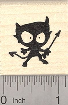 Little Devil Silhouette Rubber Stamp Valentines Day Halloween *** Visit the image link more details.