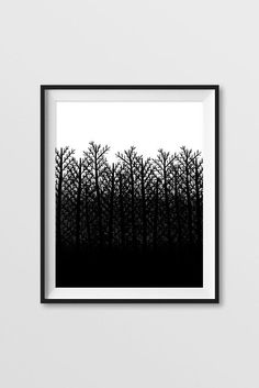 "Black and White Winter Nature Trees Ombre Digital Instant Download 8""x10"""