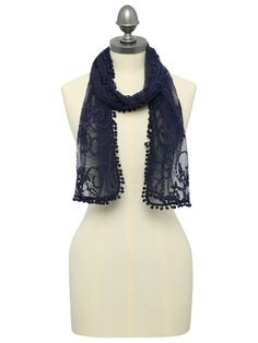 M&Co. Accessories Lace pom pom trim scarf