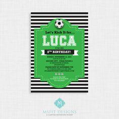 Printable Birthday Invitation- Soccer Birthday Invitation, Soccer Birthday Party Invitations, Soccer, DIY, Printable Template, Digital by MsfitDesigns on Etsy https://www.etsy.com/listing/263153316/printable-birthday-invitation-soccer