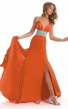 Orange, rez-de-longueur des robes bretelles spaghetti