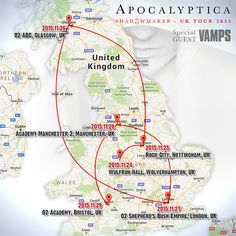 VAMPS will join Apocalyptica on their UK tour as a Special Guest!! *Below are the dates on which VAMPS will perform.  November 2015 / 24(Tue) Wulfrun Hall(Wolverhampton), 25(Wed) Rock City(Nottingham), 26(Thu) O2 ABC(Glasgow), 27(Fri) O2 Shepherd's Bush Empire(London), 28(Sat) Manchester Academy 2(Manchester), 29(Sun) O2 Academy(Bristol)