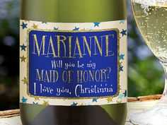 Bridesmaid Proposal Wine Label Will you be my by LabelByLoveArts