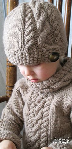 Cute toddler cable knit hat and sweater knitting pattern. This seamless knitted sweater pattern is available in sizes 3 months to kids' 10, and the hat is available in newborn to adult sizes. This seamless knit has a beautiful cable pattern. Click through to get the pattern from KnotEnufKnitting.