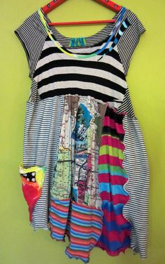 Funky Stretch upcycled top tunic black white M L XL by monapaints, $175.00