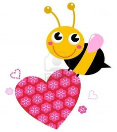 Bee with pink floral heart. Vector cartoon Illustration