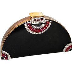 Art Deco Fan Shaped Black Enamel & Crystal Vanity Compact