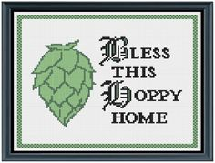 Bless This Hoppy Home Cross Stitch Pattern by MeridithDesigns