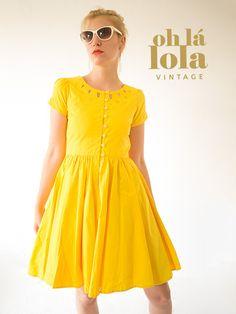 "Petticoat-Kleid ""Here comes the sun"" gelb // Petticoat-dress in yellow by Oh_la_Lola via DaWanda.com"
