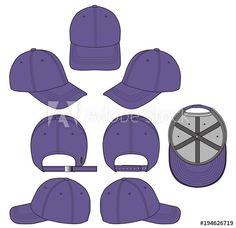 Baseball cap Purple 2018 vector illustration flat sketches template