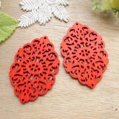WP37 /   4 Red / Wood Filigree Lace Dangle For by amusementpark
