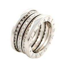 BULGARI B.ZERO1 White Gold and Diamond Ring   From a unique collection of vintage band rings at https://www.1stdibs.com/jewelry/rings/band-rings/