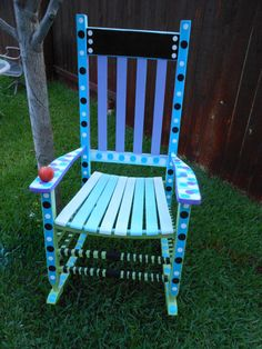 Painted rocking chair...LOVE the polka dots