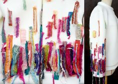 #EsmodBeirut #DiabMariam #FabricsManipulation #Sweater #Impressionism #Colors #Sustainability Textile Fabrics, Fabric Strips, Pattern Making, Impressionism, Wearable Art, Sustainability, Stripes, Sweater, Colors