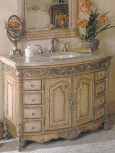 """48"""" Provincial Medium Single Bathroom Vanity.  The antique finish adds to the exquisite aura. $2800.00"""