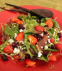 Biltong, strawberry, feta and beetroot salad