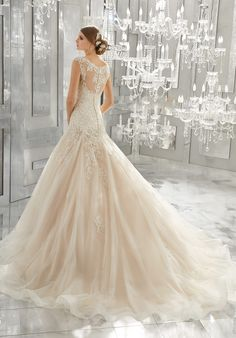 morilee fall 2017 bridal thick strap sweetheart neckline heavily embellished bodice romantic blush color a line wedding dress sheer lace back chapel train bv -- Morilee by Madeline Gardner Fall 2017 Wedding Dresses Drop Waist Wedding Dress, Sheer Wedding Dress, Western Wedding Dresses, Classic Wedding Dress, Bridal Wedding Dresses, Wedding Dress Styles, Lace Wedding, Mori Lee Bridal, 2017 Bridal
