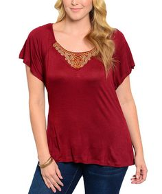 Look at this #zulilyfind! Burgundy Embellished Scoop Neck Top - Plus #zulilyfinds