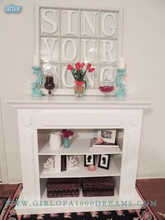 Better After unique idea for a fake fireplace--add shelves to the interior!  love it