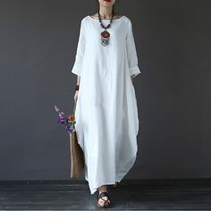 Cheap Dresses, Buy Directly from China Suppliers:[IASK] 2018 Summer Plus Size Dresses Women Loose Cotton Linen Dress O-neck White Boho Shirt Dress Long Sleeve Maxi Robe Long Sleeve Shirt Dress, Maxi Dress With Sleeves, Bat Sleeve, White Maxi Dresses, Plus Size Dresses, Long White Dress Boho, Dress Long, Long Dresses, Women's Dresses
