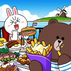 BROWN PIC is where you can find all the character GIFs, pics and free wallpapers of LINE friends. Come and meet Brown, Cony, Choco, Sally and other friends! Cony Brown, Brown Bear, Line Cony, Bear Gif, Cute Couple Cartoon, Cute Love Gif, Bunny And Bear, Brown Line, Anime Animals