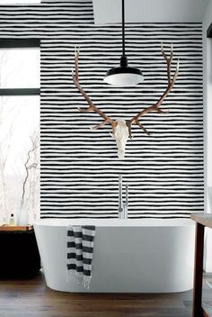 Black & White Wallpaper Monochrome wall decal Striped by BohoWalls