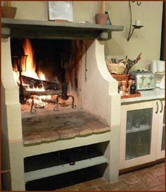 Clasic Fireplace In Kitchen