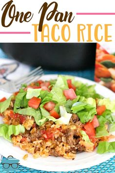 One Pan Taco Rice Dinner recipe is a whole meal in one. Ground beef, taco seasoning, salsa, rice and cheese. A family favorite meal! Beef Dishes, Rice Dishes, Main Dishes, Crockpot Dishes, Food Dishes, Aldi Recipes, Cooking Recipes, Healthy Recipes, Recipies