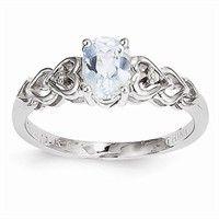 March Birthstone Rings - 14k Gold White Gold Aquamarine Diamond Ring