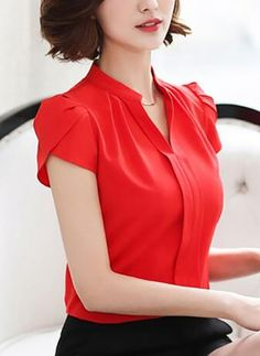 2016 Summer New Pink/White/Red Chiffon Top Shirt Female Korean Style Short Sleeve Blouses Women Fashion Chiffon Blouse Shirts Cute Blouses, Blouses For Women, Dandy Look, Top Chic, Sleeves Designs For Dresses, Fancy Tops, Professional Outfits, Bollywood Fashion, Blouse Designs