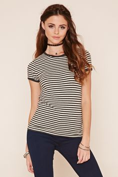 A heathered ringer tee featuring horizontal stripes, short sleeves, and a round neckline.
