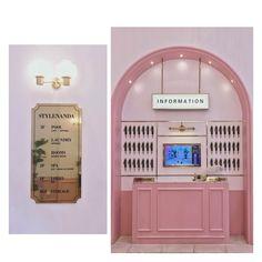 Image result for stylenanda pink hotel Shop Interiors, Office Interiors, Stylenanda Pink Hotel, Business Place, Exhibition Display, Pink Room, Pink Design, Nail Shop, Modern Interior Design