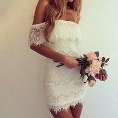 Slim white simple wedding dress