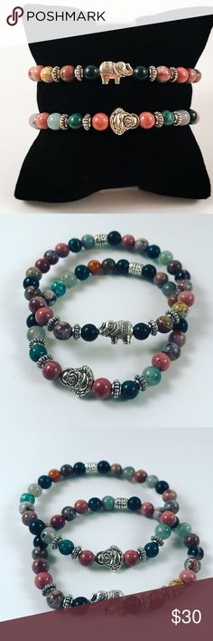 Women boho bracelets set buddha and elephant Women beaded boho bracelets set . Both bracelets fits most , 5.5 to 7 inch wrist . Handmade by me , never worn by anyone. Made with beautiful Picasso jasper beads. Tibetan silver buddha and elephant charm. I ship fast!!✈️ Bundle and save! ( 10 % off bundles) REASONABLE offers considered. Any questions let me know! NO PAYPAL ! Jewelry Bracelets